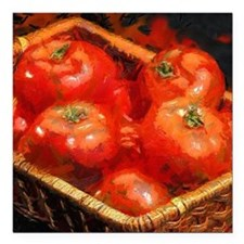 "Tomatoes in April Square Car Magnet 3"" x 3"""