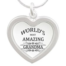 World's Most Amazing Grandma Silver Heart Necklace