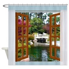 Window View of Japanese Garden Koi Pond Shower Cur