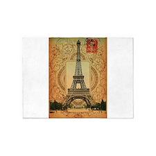 vintage postage paris eiffel tower 5'x7'Area Rug