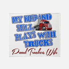 Husband Still Plays With Trucks Throw Blanket