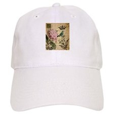 paris hydrangea butterfly french botanical art Hat