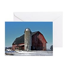 Barn Winter Watercolor Portrait Greeting Cards
