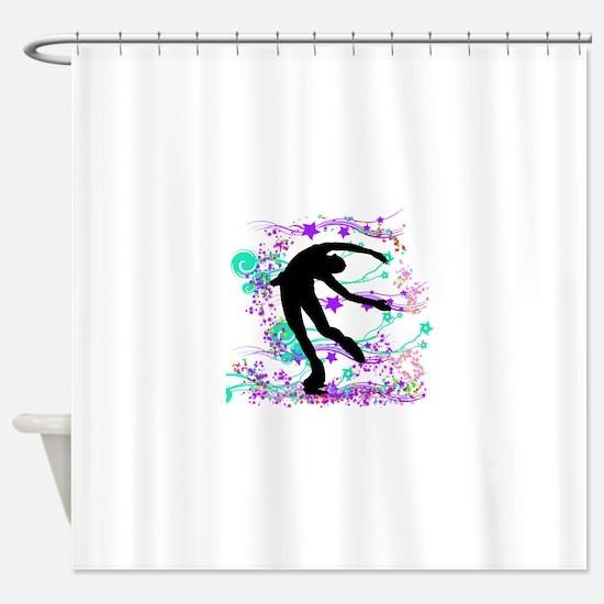litdarkskaterspin.png Shower Curtain