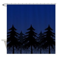 Blue Silhouette Forest Shower Curtain