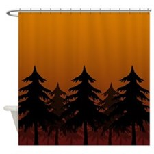 Sunset Silhouette Forest Shower Curtain