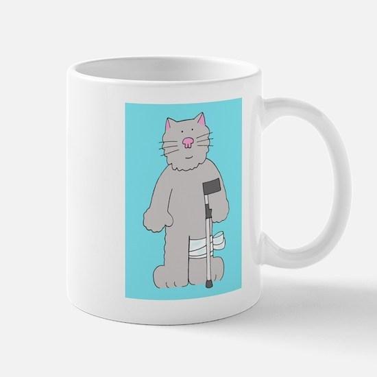 Cat on a crutch, knee surgery get well. Mugs