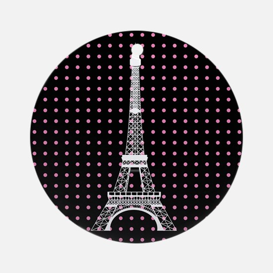 White Eiffel Tower on Pink and Black Polka Dots Or