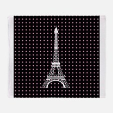White Eiffel Tower on Pink and Black Polka Dots Th