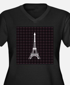 White Eiffel Tower on Pink and Black Polka Dots Pl