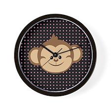 Monkey on Pink and Black Polka Dots Wall Clock