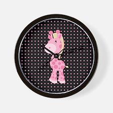 Pink Giraffe on Pink and Black Polka Dots Wall Clo