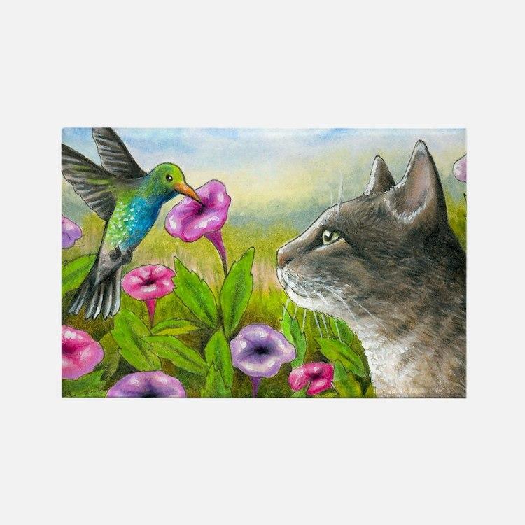 Cat 591 with Hummingbird Rectangle Magnet