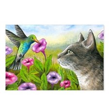 Cat 591 with Hummingbird Postcards (Package of 8)