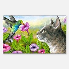 Cat 591 with Hummingbird Sticker (Rectangle)