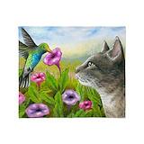 Cat with hummingbird Fleece Blankets