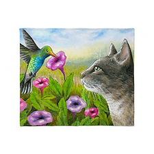 Cat 591 with Hummingbird Throw Blanket