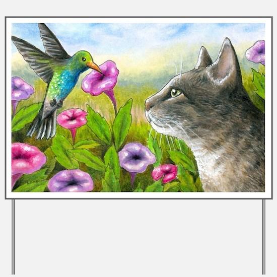 Cat 591 with Hummingbird Yard Sign