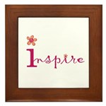 Inspire with small flowers (orange) Framed Tile
