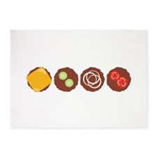 Hamburger Beef Patties Grilling Food 5'x7'Area Rug