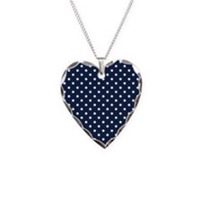 Cute Navy Blue and White Polka Dots Necklace