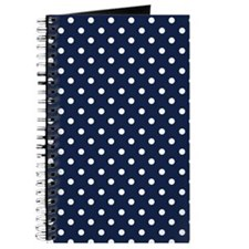 Cute Navy Blue and White Polka Dots Journal