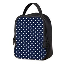Cute Navy Blue and White Polka Dots Neoprene Lunch