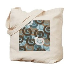 Abstract curls teal brown Tote Bag