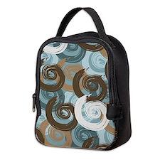 Abstract curls teal brown Neoprene Lunch Bag