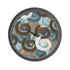 Abstract curls teal brown Wall Clock
