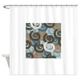Abstract curls teal brown Shower Curtains