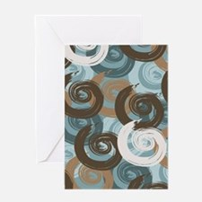 Abstract curls teal brown Greeting Cards