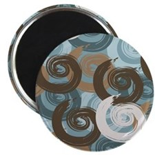 Abstract curls teal brown Magnets