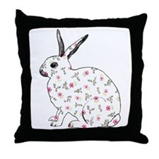 Pink Daisy Bunny Throw Pillow