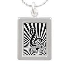 Stylish Musical note clef on sunburst Necklaces