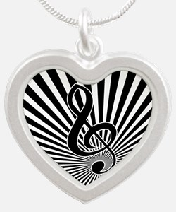 Stylish Musical note clef on sunburst Necklaces