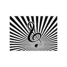 Stylish Musical note clef on sunburst 5'x7'Area Ru