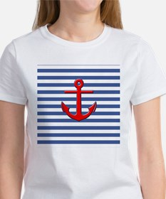 Nautical Stripes with Anchor Women's T-Shirt