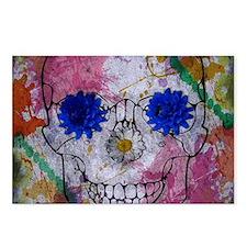 flower power skull Postcards (Package of 8)