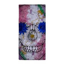 flower power skull Beach Towel