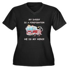 MY DADDY IS Women's Plus Size V-Neck Dark T-Shirt