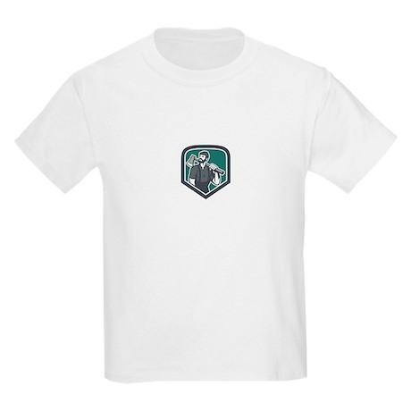 Lumberjack Holding Axe Shield Retro T-Shirt