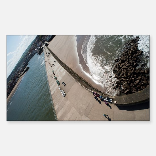 Whitby west pier Sticker (Rectangle)