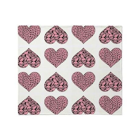 PINK HEARTS Throw Blanket