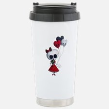 Cute Skeleton Girl with Spooky Balloons Travel Mug