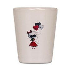 Cute Skeleton Girl with Spooky Balloons Shot Glass