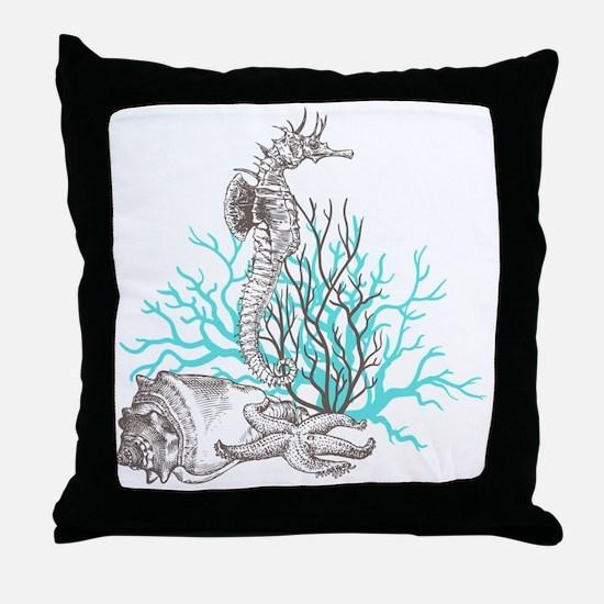 Aqua Under the Sea Throw Pillow
