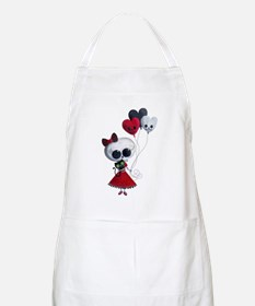 Cute Skeleton Girl with Spooky Balloons Apron