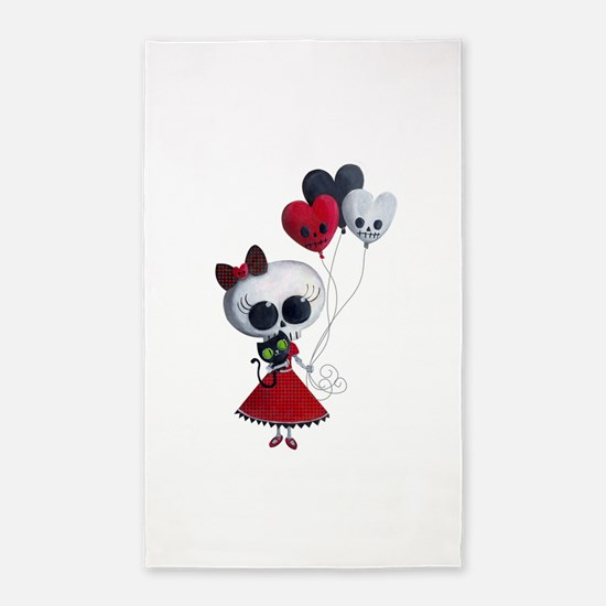Cute Skeleton Girl with Spooky Balloons 3'x5' Area