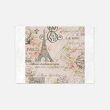 modern vintage floral paris fashion art 5'x7'Area